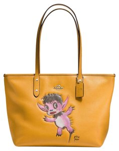 Coach Limited Edition X Baseman Monster Rare Leather Tote in Yellow Mustard