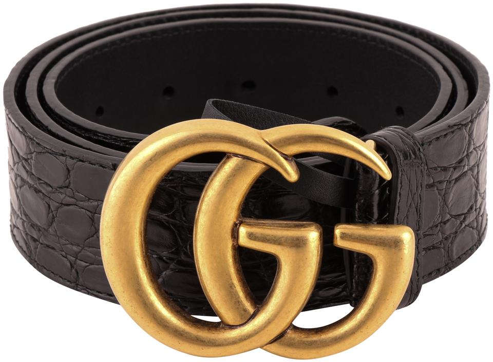 cf9d93a5786 Gucci Gucci Black Crocodile Belt with Antiqued Brass Double G Buckle Image  0 ...