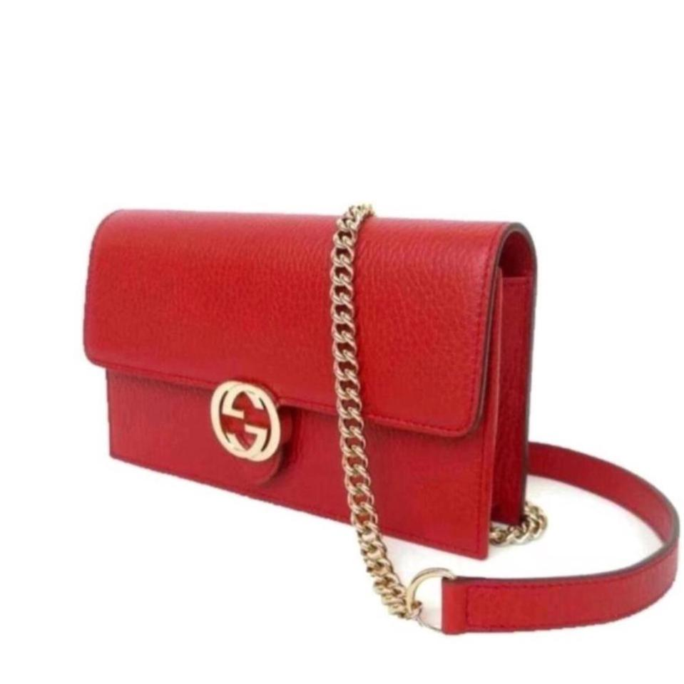 c9d084aa6d8 Gucci Chain Wallet Icon Gg Rosso Red Leather Cross Body Bag - Tradesy