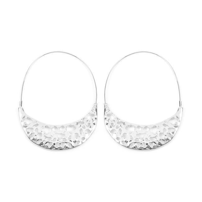 Riah Fashion Silver Crescent Moon Filigree Hoop Earrings Riah Fashion Silver Crescent Moon Filigree Hoop Earrings Image 1