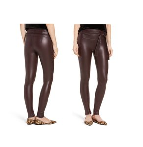 David Lerner Vegan Faux Leather High Rise High Waisted Sexy Brown Leggings