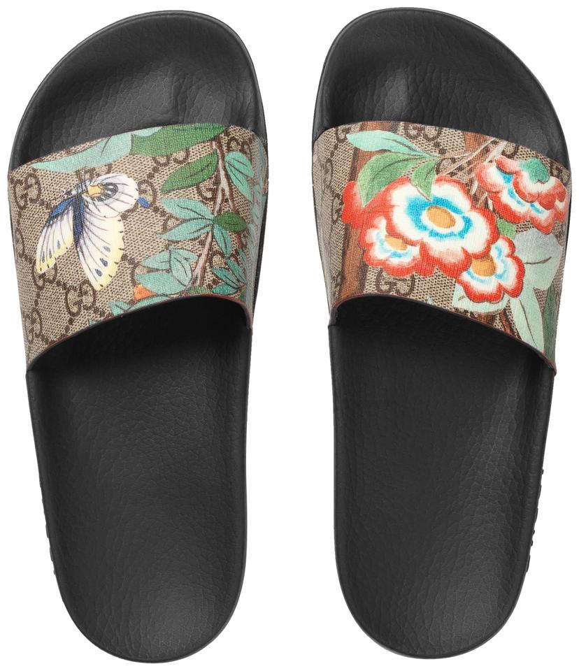 179f1064e72b Gucci Beige Brown Multicolor Coated Canvas Blooms Slide Sandals. Size  EU 39  (Approx. US 9) Regular (M ...