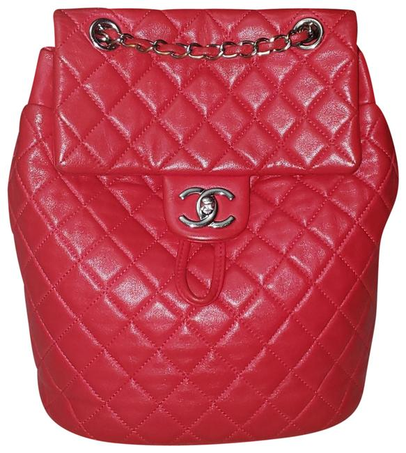 Item - Quilted Small Urban Spirit Red Lambskin Leather Backpack