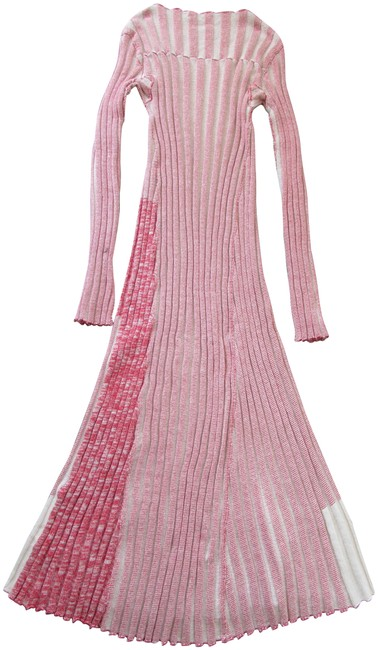Item - Red White Two Toned Chunky Knit Ribbed Sweater Long Casual Maxi Dress Size 8 (M)