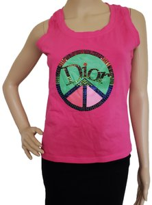 Dior Crystal Diorissimo Logo Embroidered Sleeveless Top Pink