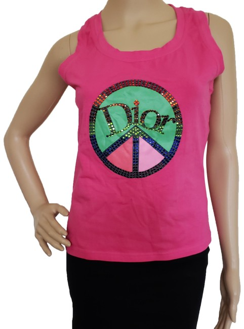 Preload https://img-static.tradesy.com/item/24073105/dior-pink-fuchsia-multicolor-logo-sleeveless-knit-blouse-size-12-l-0-3-650-650.jpg