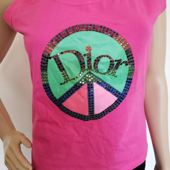 Dior Crystal Diorissimo Logo Embroidered Sleeveless Top Pink Image 1