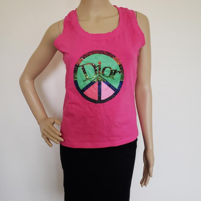 Dior Crystal Diorissimo Logo Embroidered Sleeveless Top Pink Image 2