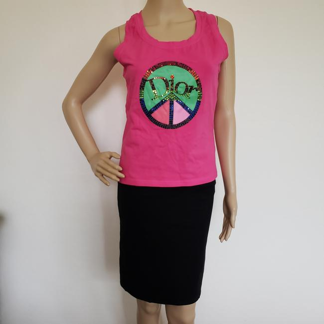 Dior Crystal Diorissimo Logo Embroidered Sleeveless Top Pink Image 3