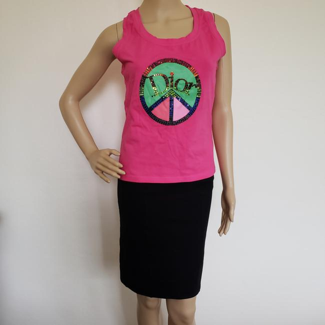 Dior Crystal Diorissimo Logo Embroidered Sleeveless Top Pink Image 4