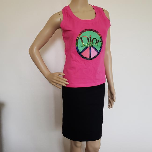 Dior Crystal Diorissimo Logo Embroidered Sleeveless Top Pink Image 5