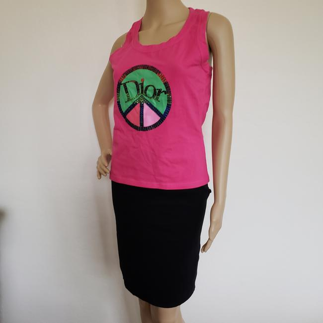 Dior Crystal Diorissimo Logo Embroidered Sleeveless Top Pink Image 6