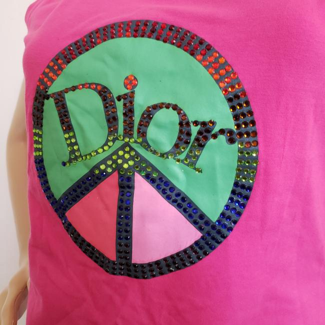 Dior Crystal Diorissimo Logo Embroidered Sleeveless Top Pink Image 7