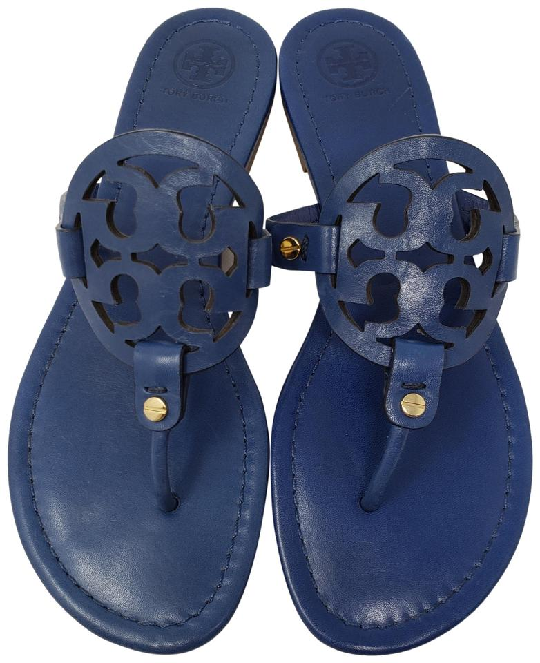 fd56dd4758eff Tory Burch Gold Hardware Miller Reva Logo Patent Leather Blue Sandals Image  0 ...