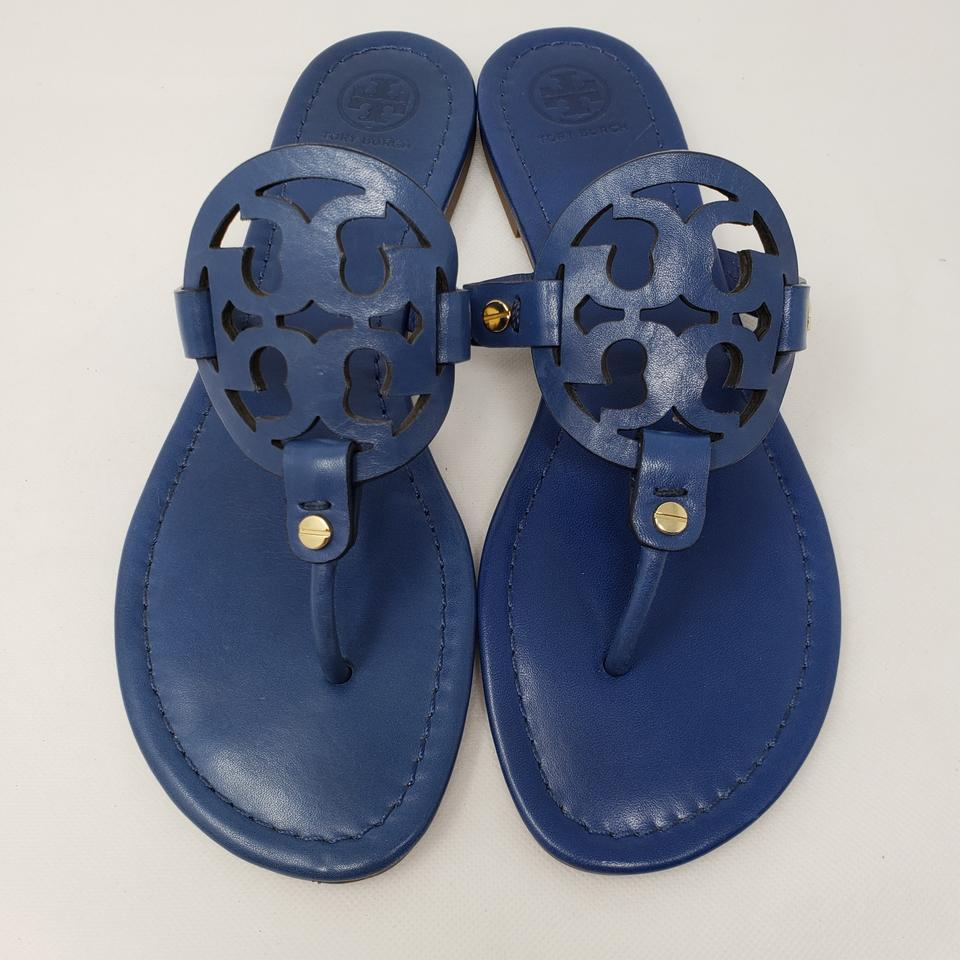 2e6e6db90d016 Tory Burch Gold Hardware Miller Reva Logo Patent Leather Blue Sandals Image  11. 123456789101112