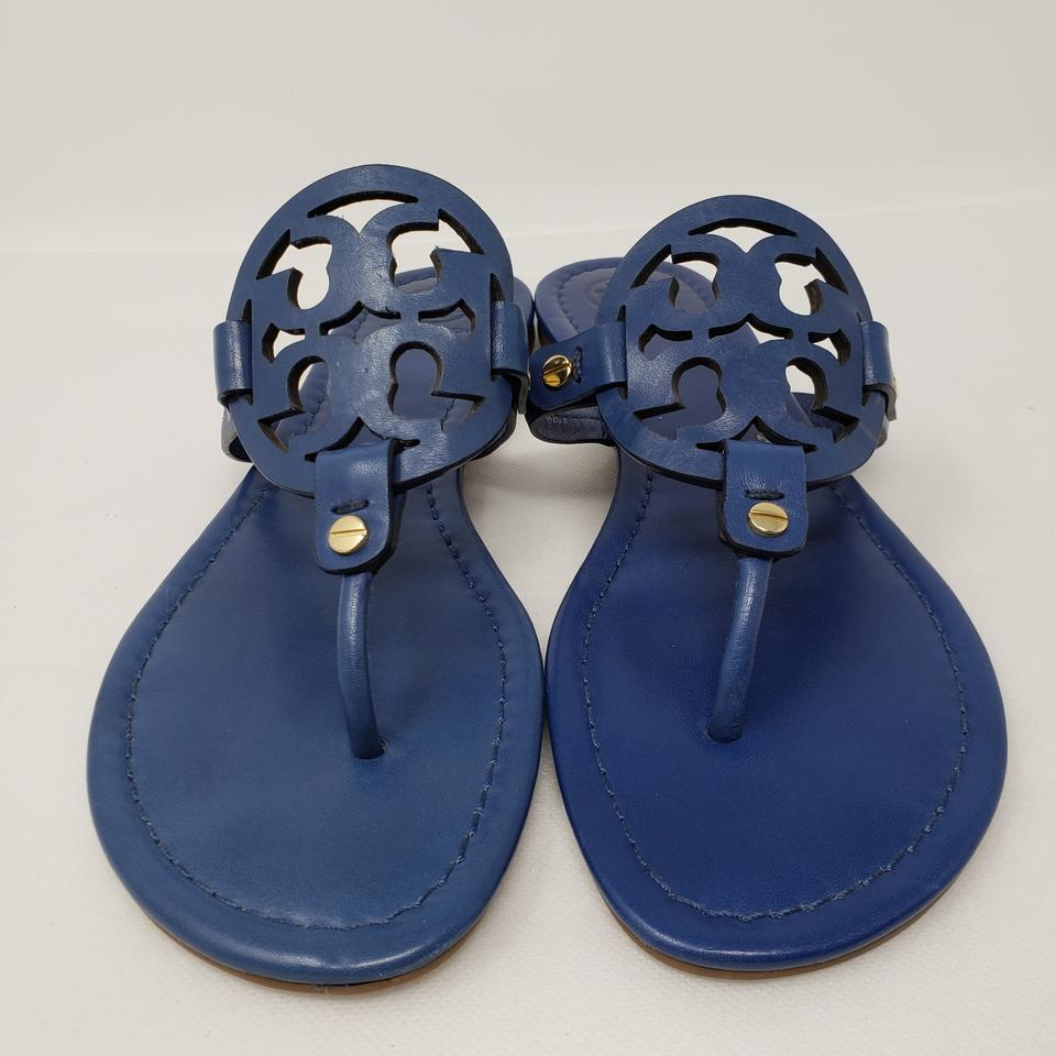 a414b98df7794 Tory Burch Blue Navy Cobalt Leather Miller Sandals Size US 9.5 ...