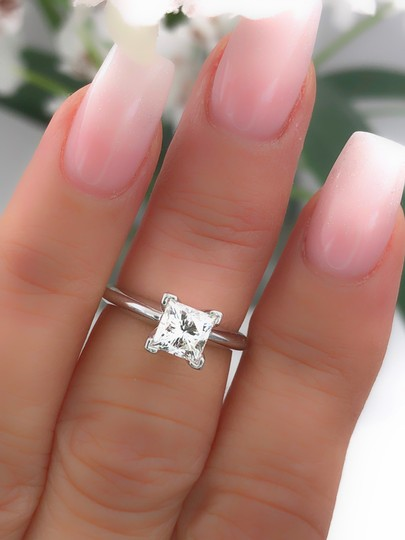 I Vs1 Princess 0.95cts 14k White Gold Papers Engagement Ring Image 10