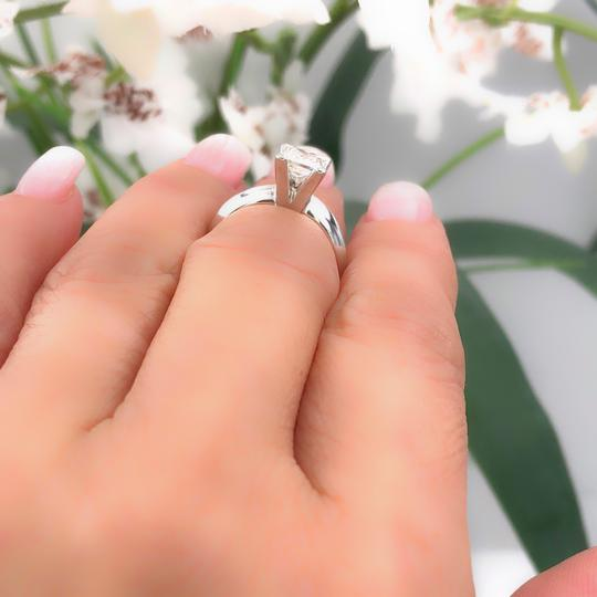 I Vs1 Princess 0.95cts 14k White Gold Papers Engagement Ring Image 9