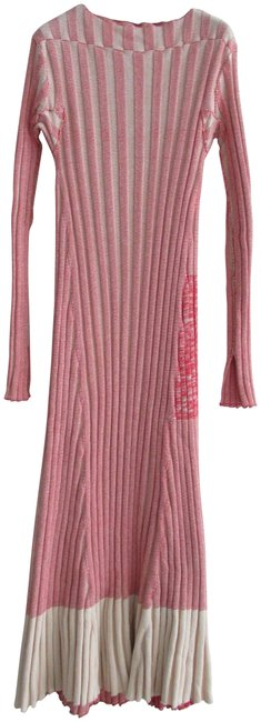 Item - Red White Two Toned Chunky Knit Ribbed Sweater Long Casual Maxi Dress Size 12 (L)