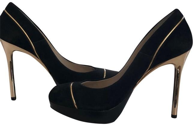 Item - Black/Gold Suede with Piping and Heels Pumps Platforms Size US 7 Regular (M, B)