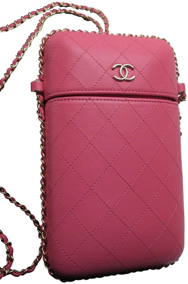 eee89d906f16 Chanel 16k 2b931 O-phone Holder Pink Lambskin Leather Cross Body Bag ...