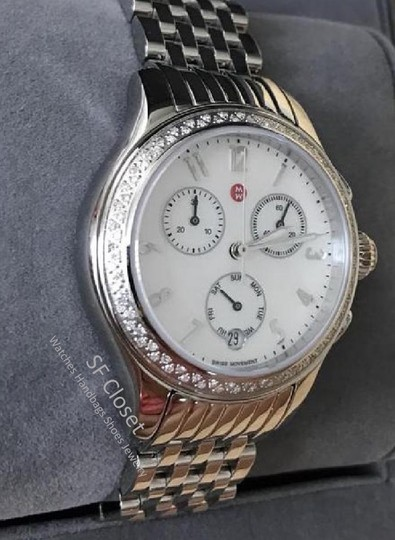 Michele FLASH-SALE Jetway Diamond Mother Of Pearl Dial Chronograph Watch Image 2