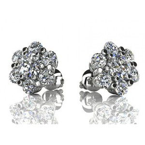Madina Jewelry White 1.50 Ct Round Cut Diamond Stud In Screw Back Earrings