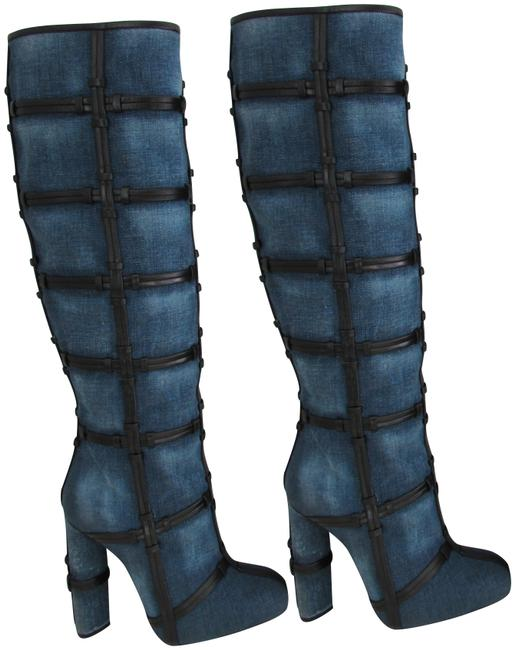 Item - Blue Denim Leather Patchwork Boots/Booties Size EU 37.5 (Approx. US 7.5) Regular (M, B)