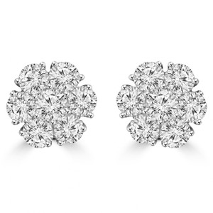 Madina Jewelry White 1.80 Ct Round Cut Diamond Cluster In 18 Kt Gold Earrings