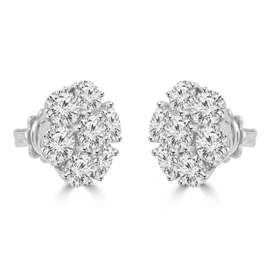 Madina Jewelry White 1.80 Ct Round Cut Diamond Cluster In 18 Kt Gold Earrings Image 1
