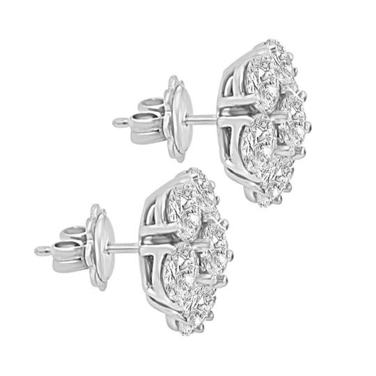 Madina Jewelry White 1.80 Ct Round Cut Diamond Cluster In 18 Kt Gold Earrings Image 2