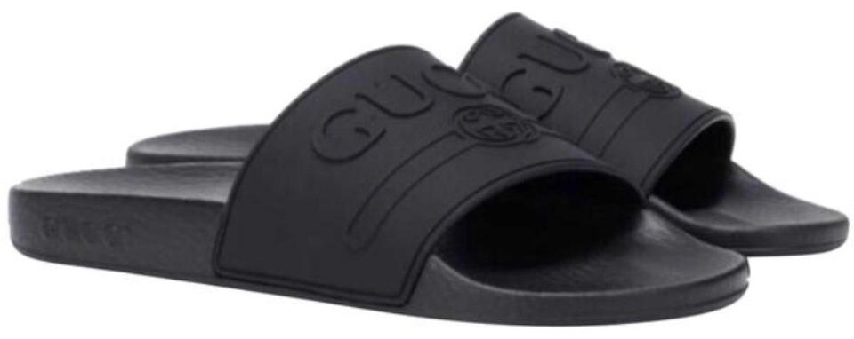 Gucci Black Logo Embossed Rubber Slides Sandals