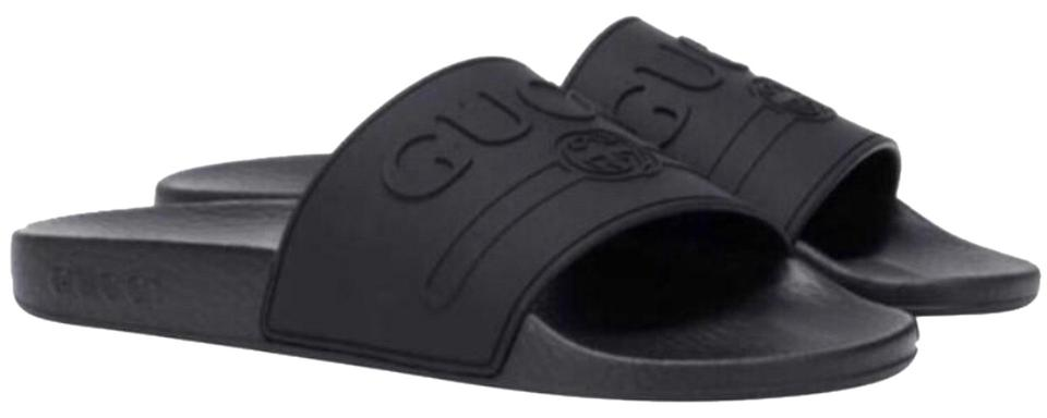 fa2d3ae19a1459 Gucci Logo Embossed Rubber Slides Sandals Size US 9 Regular (M