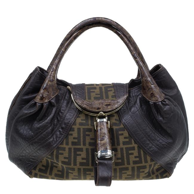 Item - Canvas Limited Edition Tortoise Spy Brown Leather Hobo Bag