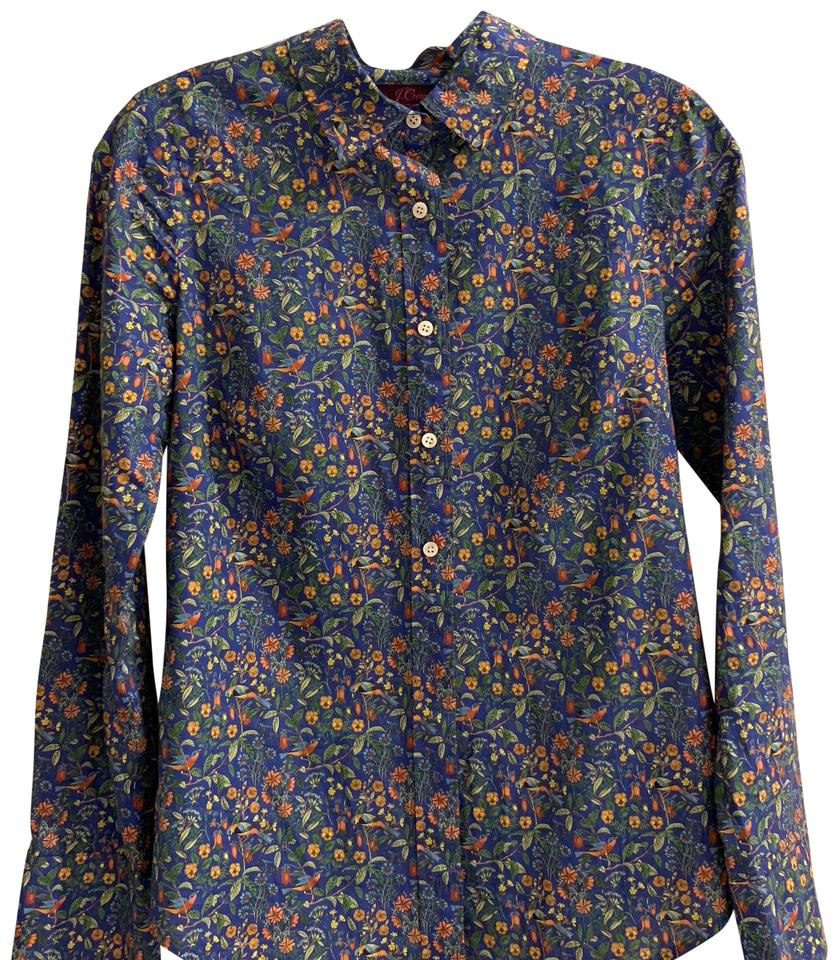 3e519f2c2a640 J.Crew Multi Blue Liberty Fabric Shirt Blouse Size 0 (XS) - Tradesy
