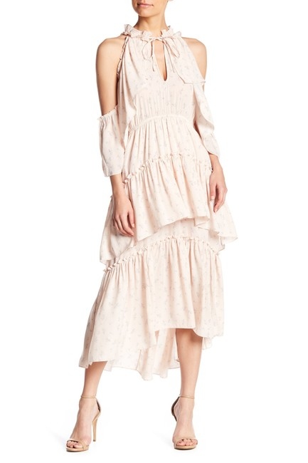 Item - Floral Pink Cold Shoulder Ruffled Mid-length Casual Maxi Dress Size 4 (S)
