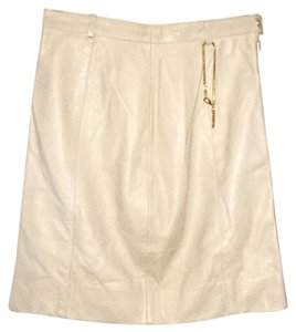 Escada Vintage Ostrich Leather Dryclean Only Skirt Tan