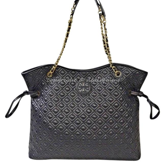 Item - Marion Slouchy Tote Black Soft Quilted Calf Leather with Gold Hardware Hobo Bag