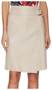 Tory Burch Lambskin Leather Wrap Skirt Taupe