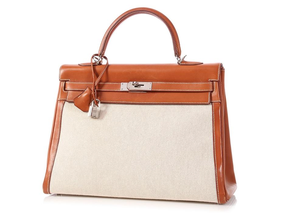 233b8b2764ae Hermès Kelly   on Hold For Aff   35 Toile and Barenia Brown Calfskin ...