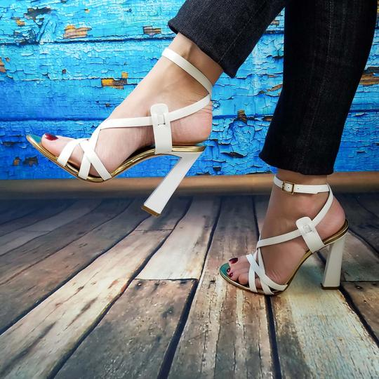 Dsquared2 D2 Women Genuine Leather High Heels White Sandals