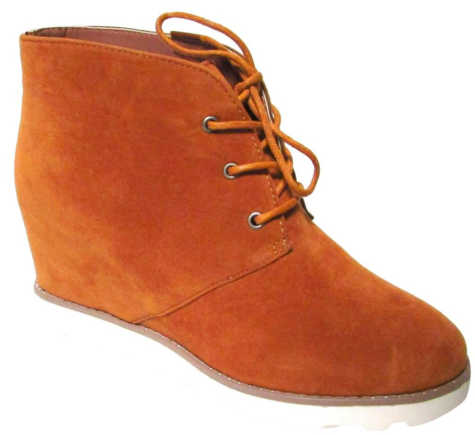 eecccab802bf Dollhouse Cognac Crusade Faux Fur Covered Wedge Boots Booties Size ...