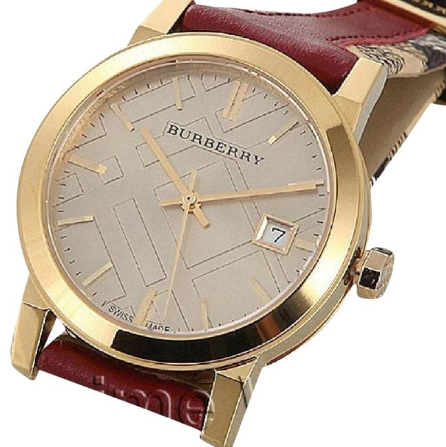 Item - Red and Gold Bu9111 Women's Swiss Haymarket Check Fabric & Leather Watch
