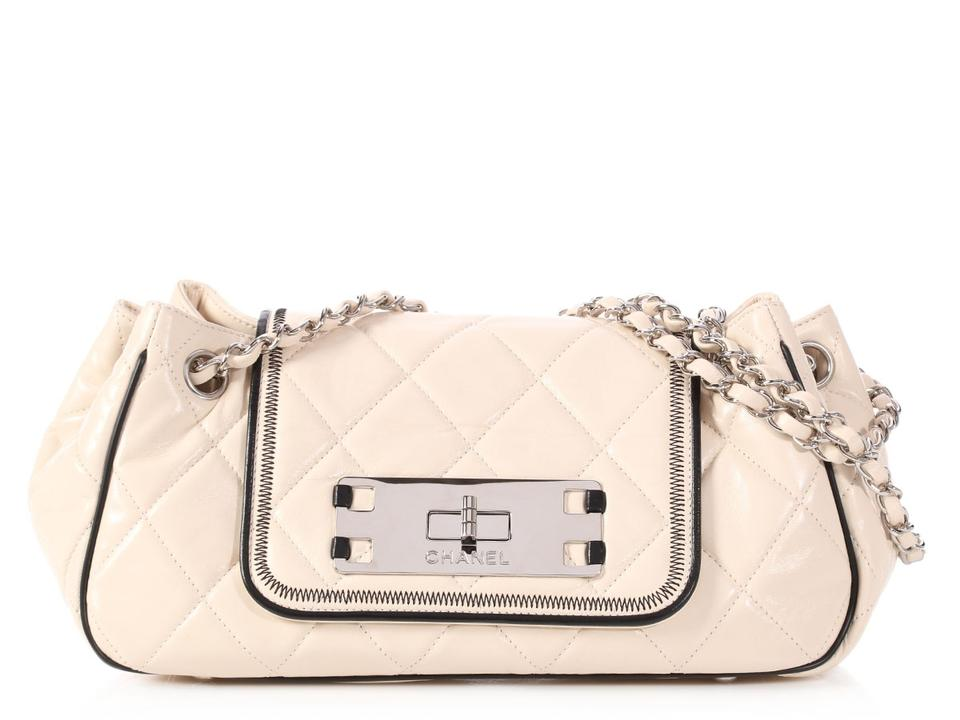 53bad7299121e2 Chanel East West **sold On Afc**east West Accordion Flap Small Quilted  Beige Lambskin Leather Shoulder Bag