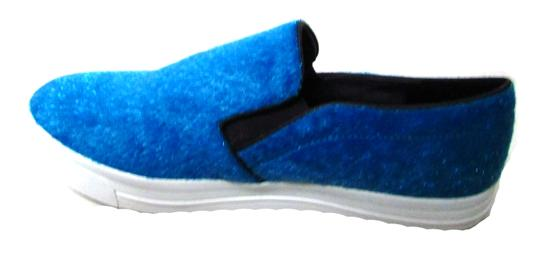 Dollhouse Casual Fashion Loafer Faux Fur Blue Flats