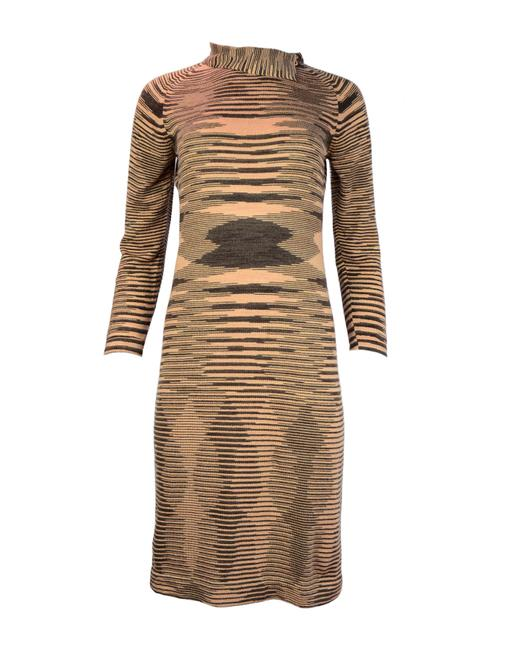 Peach/Brown Maxi Dress by Missoni Sweater Cowl Neck Slip Cashmere Striped