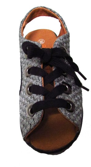 Bernie Mev Lace Up Woven Casual Classic Comfort Pewter Wedges