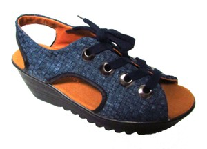 Bernie Mev Lace Up Woven Casual Classic Comfort Blue Jeans Wedges