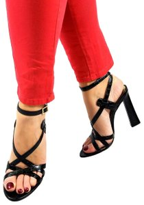 Dsquared2 Italian Ankle-wrap Black & Gold Sandals
