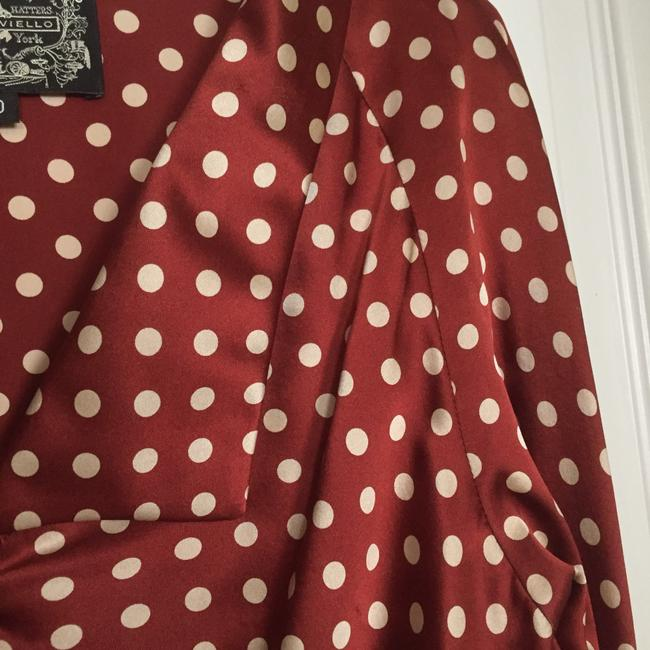 James Coviello Top Rust with white polka dots